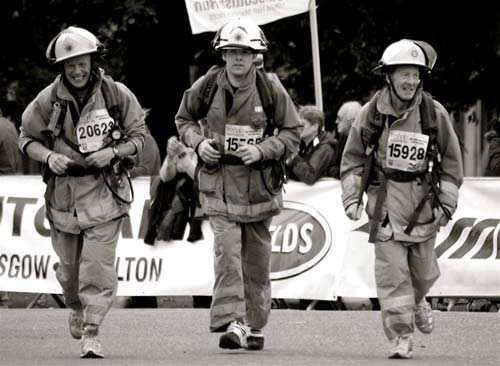 Fire fighters run half-marathon in gear