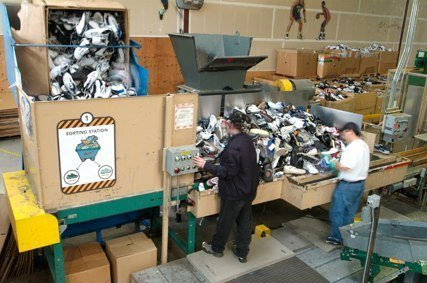 Nike shoe recycling factory